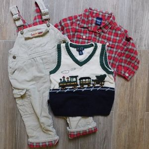Boys 18 24 month Christmas lot, flannel, overalls